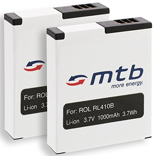 2 Akkus RL410B für Rollei Action Cam 230, 240, 400, 410 / Maginon AC-800W [3.7V / 1000 mAh/Li-Ion]