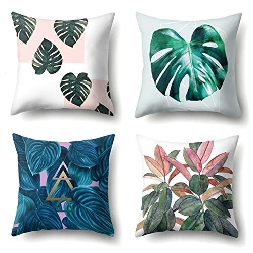 FDSJKD Nordic Tropical Palmera Cubierta Verde cojín Cojines de Flores Decorativo para sofá para la Sala de Estar Las oficinas Son Super Suaves cómodas más duraderas