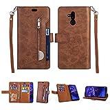 Artfeel Hülle für Huawei Mate 20 Lite Flip Brieftasche Hülle Braun mit 9 Kartenfächer,Premium Leder Magnetisch Stand Handyhülle mit Reißverschluss Tasche & Handschlaufe Schutzhülle