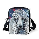 HUGS IDEA Mini Crossbody Bag Handbags Poodle Printed Messenger Bag Travel Cellphone Pouch Small Schoolbags