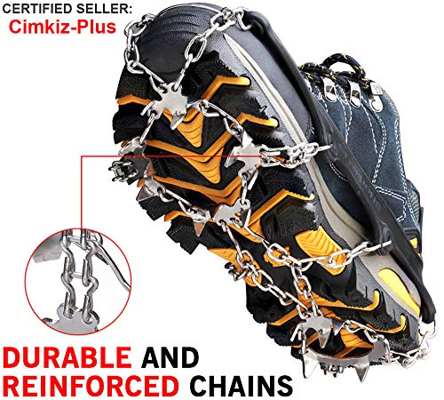 Crampons Ice Cleats Traction Snow Grips for Boots Shoes Women Men Kids Anti Slip 18 Stainless Steel Spikes Safe Protect for Hiking Fishing Walking Climbing Mountaineering