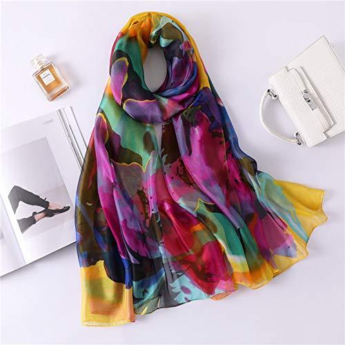 MYTJG Lady sjaal Lente En Herfst Zijde Sjaal Grote Maat Print Sjaal En Verpakt Lady Hoofdband Comfortabele Mode Warm Sjaal