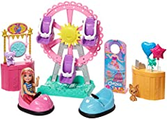 This Club Chelsea Carnival Playset sparks endless storytelling with 5 areas of play and large pieces with working features like a Ferris wheel, bumper cars, game booth, balloon stand and photo booth! Seat Chelsea doll and up to 2 friends (sold separa...