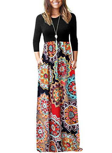 OURS Maxi Dress for Women Ladies Casual Ethnic Flower Dresses with Pockets (X-Color 2, L)