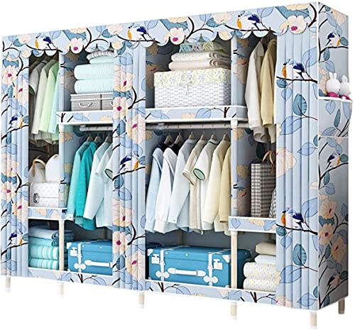 wardrobe Portable Cloth, Closet Storage Organizer Assembly Cabinet 25 MM Solid Wood Large capacity Moisture proof Garment Organizer Armoire FANJIANI