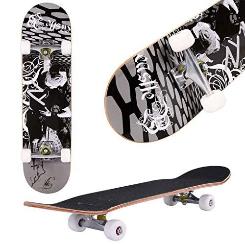 fiugsed Skateboard Komplettboard Mit ABEC-9 Kugellager Und 9-Lagigem Ahornholz 95A Rollenhärte Funboard FÜR Anfänger Und Profis - Belastung 100 KG (Schwarz)