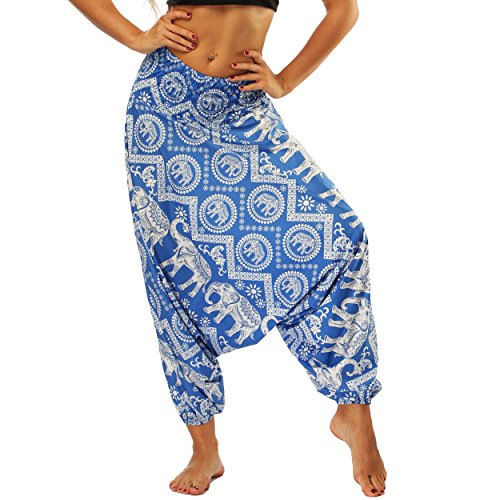 Nuofengkudu Damen Thai Hippie Pumphose Haremshose Aladinhose Gemustert Niedriger Schritt Leicht Luftig Yogahose Sommerhose Blau Elefanten