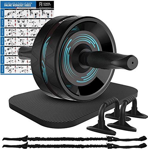 Fitness Insanity AB Roller Wheel, 6-in-1 AB Roller Kit mit Kniematte, Push-Up Bars, Widerstandsbänder, Workout Poster, Workout Guide, Perfekte Home Gym Ausrüstung für Männer Frauen Bauchtraining
