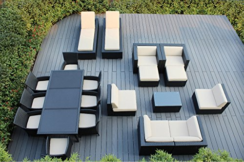 Hot Sale Genuine Amazing Ohana Outdoor Sectional Sofa, Dining and Chaise Lounge Wicker Patio Furniture Set (20 PC set) with Free Patio Cover