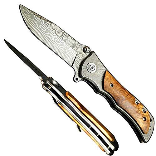 Blades World fabriqué sur Mesure en Acier de Damas 18,8 cm Couteau de Poche Pliant avec Canadien G 10 Solide et Acier de Damas Traversin avec mosaïque Broches (Poignée Bdm-1)
