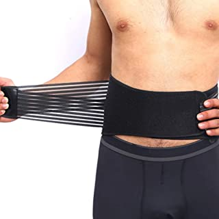 CROSS1946 Compression Back Braces for Lower Back Pain-Dual Pull Adjustable Back Lumbar Support Belt-Breathable Mesh Panels with 8 Steel Springs-Waist 26