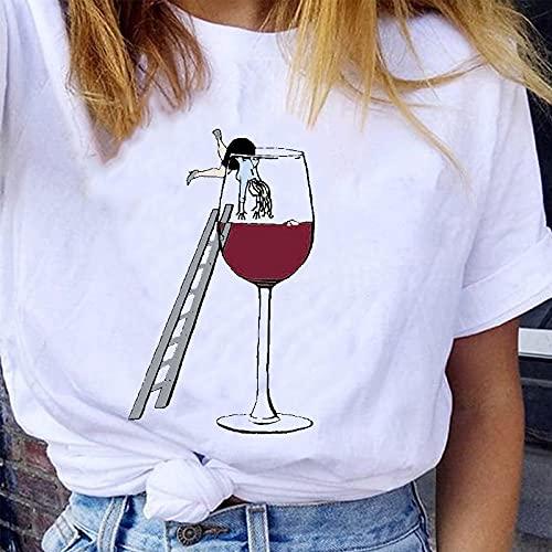 Camisetas para Mujer Camiseta Blanca con Gráfico Divertido,Robando Vino Tinto Camiseta con Cuello Redondo De Manga Corta con Estampado Vintage,Tops Casuales De Verano Ropa De Diseñador Linda Camisa