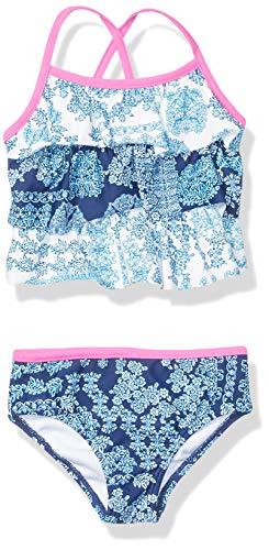 Tommy Bahama Girls' Baby 2-Piece Swimsuit Bathingsuit Bikini, Ruffle Tankini Blue, 24 Months Blue Infant Two Piece