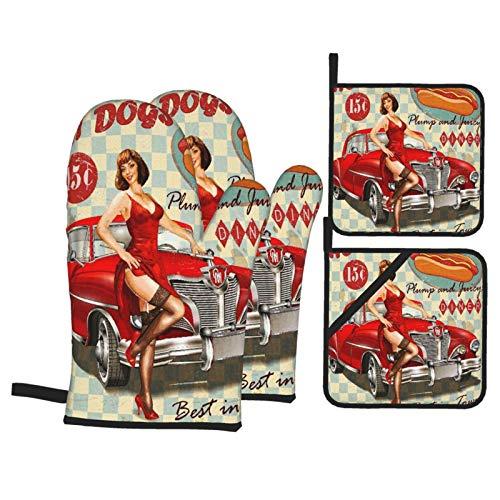 Ofenhandschuhe und Topflappen 4er-Sets,Diner Hot Dog Vintage Pin Up Mädchen und Retro Auto 1950er Jahre gemütlich,BBQ-Handschuhe mit Quilted Liner Resistant Hot Pads zum Kochen in der Küche Backen