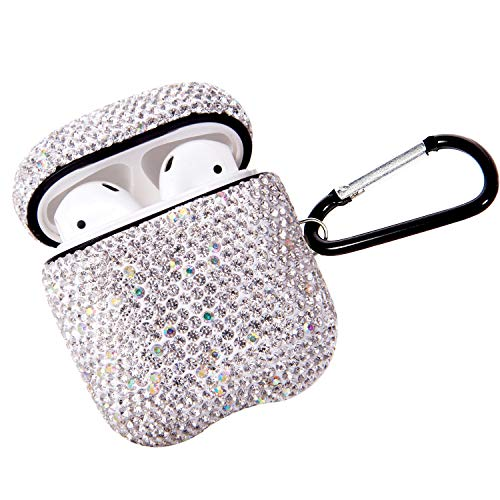 2021 Sparkly Diamond Case for AirPods with Keychain, Shockproof Protective Premium Bling Rhinestone Cover Skin Compatible with AirPods Charging Case 2 & 1(White+AB C5)