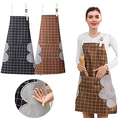 PrettyWit 2 PCS Kitchen Apron for Woman Girl Cooking Apron with Pocket and Hands Wiping Quilt Black amp Coffee