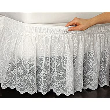 Wrap-Around Queen/King Lace Bedskirt Dust Ruffle Bed Skirt White
