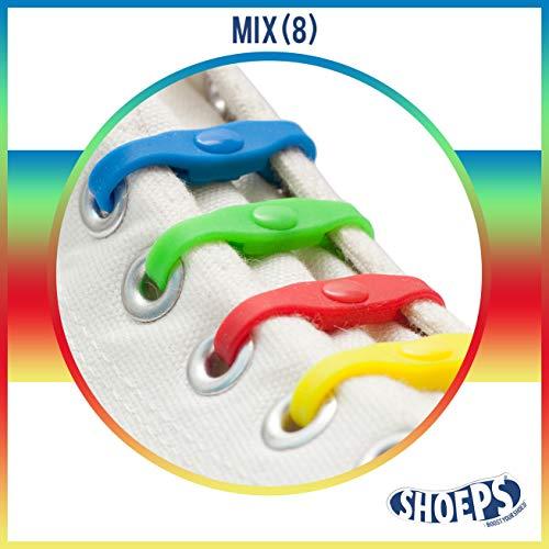 Shoeps Herren Mix 8 Elastic 8-teilige Schnürsenkel, Mehrfarbig, Regular