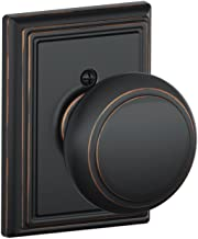Andover Knob with Addison Trim Non-Turning Lock, Aged Bronze (F170 AND 716 ADD)