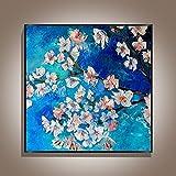 Pintura A Mano Gruesa Pintura Al Óleo De Flores Azules Sobre Lienzo - Abstracta De Gran Tamaño Pintura Mural Cartel De Obras De Arte Para La Luz De Entrada Del Corredor De Lujo Decoración Del Hog