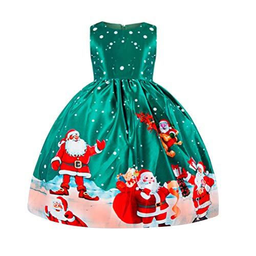 Amosfun Kerstmis Kids Gauze Jurk Kerstman Gedrukt Prinses Mesh Rok Kostuum Outfit Voor Winter Feestelijke Banket Dans Party 110cm (Groen)