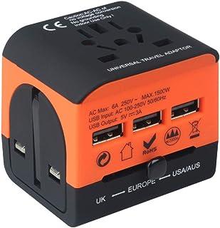 TZOU Universal Abroad Converter Charging Power Adapter British European Standard Portable Travel Socket Middle Orange - Mu...