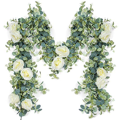 HI NINGER Artificial Eucalyptus Garland with White Roses Vine Eucalyptus Leaves Greenery Garland for Wedding Backdrop Wall Decor