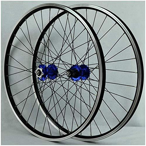 Juego de ruedas para bicicleta de 26 pulgadas con freno en V, doble pared, aleación de aluminio, llanta para ciclismo, llanta para ciclismo, freno de disco, liberación rápida, 32 orificios, 7 8 9, di
