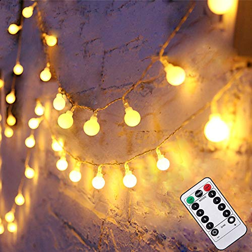 50LEDs ichterkette kugeln - Liwiner LED lichterketten batteriebetrieben warmweiß mit fernbedienung/ timer Innen- und Außen Deko Glühbirne, Weihnachtsbeleuchtung für Garten/ Hochzeit / Party/ kinder