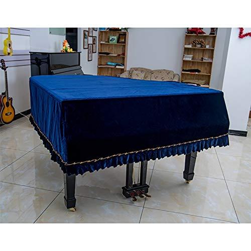 Dhl hoek donkerblauw piano dikke afdekking van gouden fluweel met driehoekige strepen, stofdicht