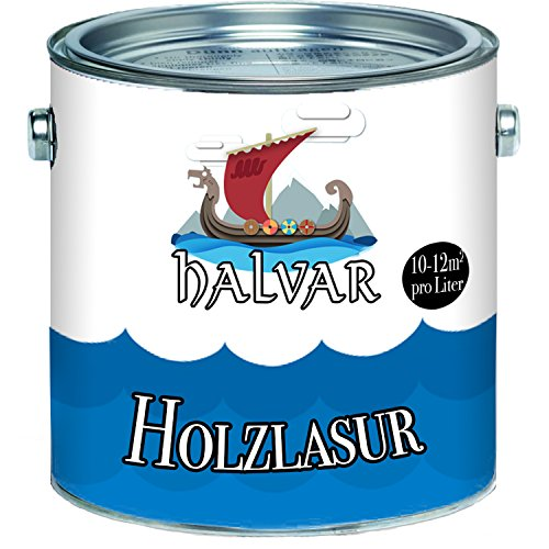 Halvar Holzlasur skandinavische Lasurwetterfest - atmungsaktiv - Lichtbeständig - aromatenfrei - tropfgehemmt - UV-beständig in 12 Farbtönen Außen-Lasur Holz-Schutz Holz-Öl (2,5 L, Farblos)