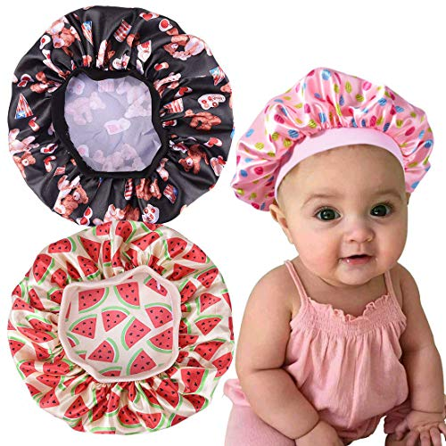 3 Pieces Kids Satin Bonnet Sleeping Cap Soft Silk Wide Band Night Hats for Natural Hair Teens Toddler Child Baby