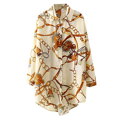Coolster Frauen stilvolle Blumendruck Langarm Shirts, Trendige Elegante Turn-Down-Button Loose Fit Bluse