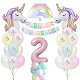 Unicornio Decoración de Cumpleaños 2 años, Globo de Unicornio Macaroncon Pancarta de Cumpleaños Numero 2 Cumpleaños Globos Latex Globos para Decoracion de Fiesta de Cumpleaños Niña Reutilizar