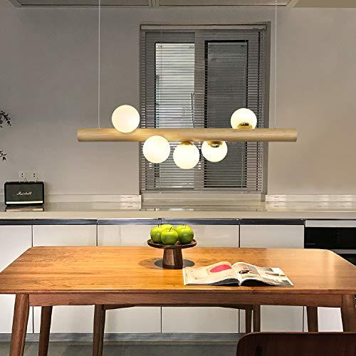 ZMH Pendelleuchte Holz rustikal esstisch Hängelampe Hängeleuchte Kugel aus Glas Pendellampe mit G9 Leuchtmittel Retro Deckenleuchte für Esszimmer (5-flammig)