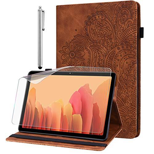 GLANDOTU Hülle für Samsung Galaxy Tab S2 9.7 Zoll (T810/ T813/ T815/ T819) mit Schutzfolie und Stylus Stift - Ultra Dünn mit Standfunktion Flip Cover PU Leder Hülle (braun)