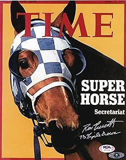 伝説の三冠馬 セクレタリアト 殿堂騎手 ロン・ターコット 直筆 サイン + 73 Triple Crown 追加インスクリプション入り ポスター PSADNA社証明書 シードスターズ