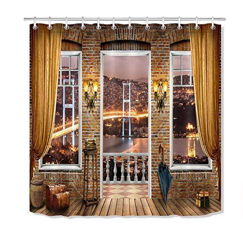 ZZZdz Casa Warmer douchegordijn, 180 x 180 cm, 12 haken Gratuiti. Decoratie van meubels, 3D-print, HD-opdruk, accessoires voor de badkamer.