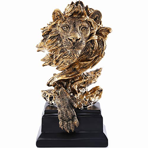 H&W Sandstone Lion - The King of Beasts - Statue Decoration for Home/Study/Living Room, Great Collectible Figurines, Best Gift for The Man, Golden Color (HH17-D2)