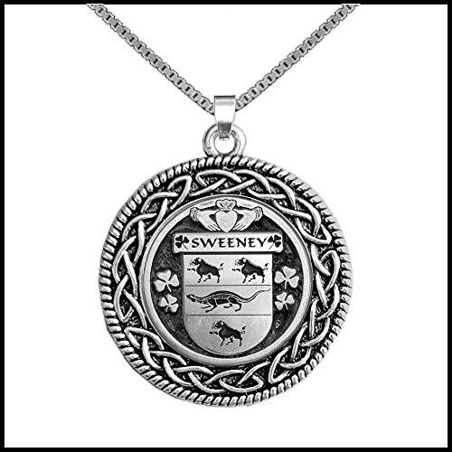 Sweeney Irish Coat of Arms Celtic Interlace Disk Pendant