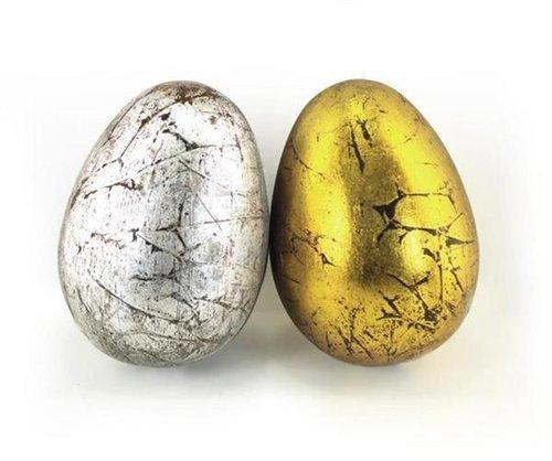 Signes Grimalt - Oggetto decorativo x 2 UOVO, color oro/argento, 10 cm 38926SG