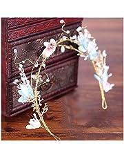 QFF Q Guirnalda de Flores Hecho a Mano Corolla Diadema Bohemio Coreano para niños Accesorios para el Cabello Cabeza Flor Sen Azul Joya Anillo para el Cabello F