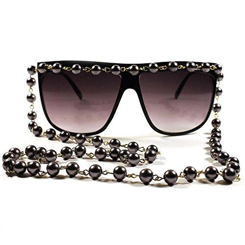 KISS Gafas de sol mod. COLLAR de PERLAS - mujer extravagante VINTAGE limited fashion SUPERB - NEGRO