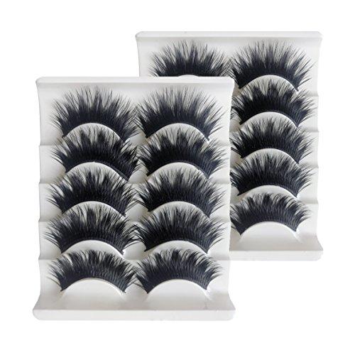 KFZR 10 pares de pestañas postizas 3D Fake Eye Lashes Natural Look maquillaje extensión negro grueso