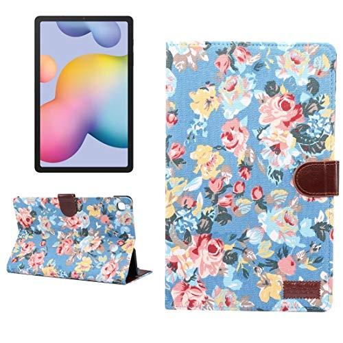 MDYHMC YXCY AYDD - Funda de piel para Galaxy Tab S6 Lite P610 / P615, diseño de flores, textura de tela, con soporte, ranura para tarjetas, cartera y función de reposo y despertador, color azul