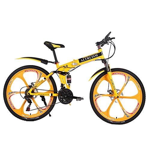 ALTRUISM Vélo VTT 26 Pouces pour Homme et Femme avec Frein à Disque arrière (Jaune)