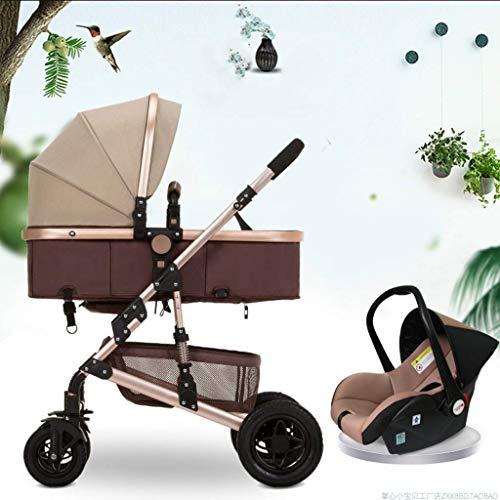3 en 1 Cochecito de bebé de paraguas Carrito plegable, anti-shock Vista alta, carro de aluminio, cochecitos de cochecito compactos, canasta de almacenamiento, área de asiento grande (color: marrón) fe