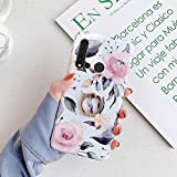 Uposao Cover Compatibile con Huawei P20 Lite Shiny Fiore Rose Colorato Brillantini Modello Disegni con Supporto ad Anello Morbida TPU Silicone Gel Gomma Bumper Cover,Fiori Uccelli