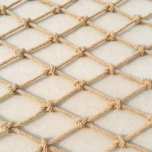 Amacthysh Hemp Rope Net,garden mesh, for Climbing, Balcony, Stairs, Photo Wall Decoration, Garden Fence, Obstacle Protection, Ceiling Net, or as Room Divider,1 * 4m/3.3 * 13.12ft