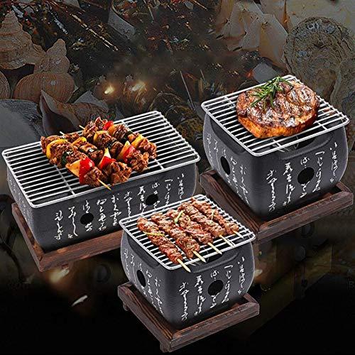 51inqPbu8iL. SL500  - YAOLUU Grill zubehör Mini-Tisch-Top-Holzkohlegrill-tragbarer japanischer BBQ-Grillkohleherd mit Drahtnetzgrill und Basis Grill BBQ (Size : 24cm×12.5cm)